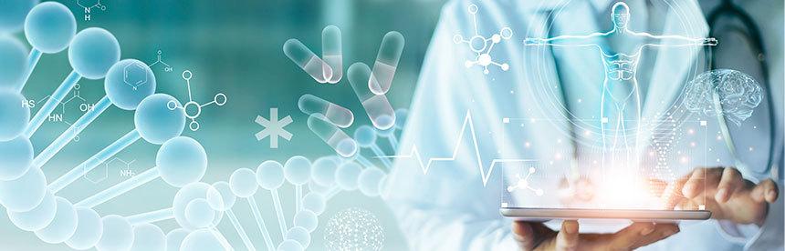Imagem ilustrativa onde um profissional da saúde manipula um aparelho tablet.